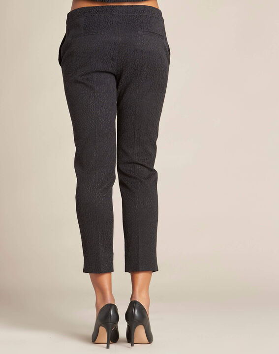 Suzanne black jacquard tapered trousers (4) - 1-2-3