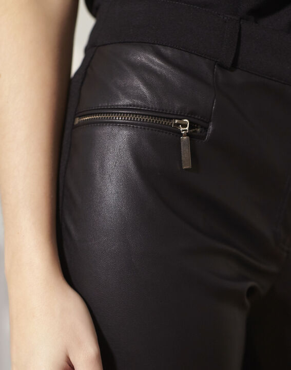 Hectotrine black slim-fit trousers in milano fabric (3) - 1-2-3