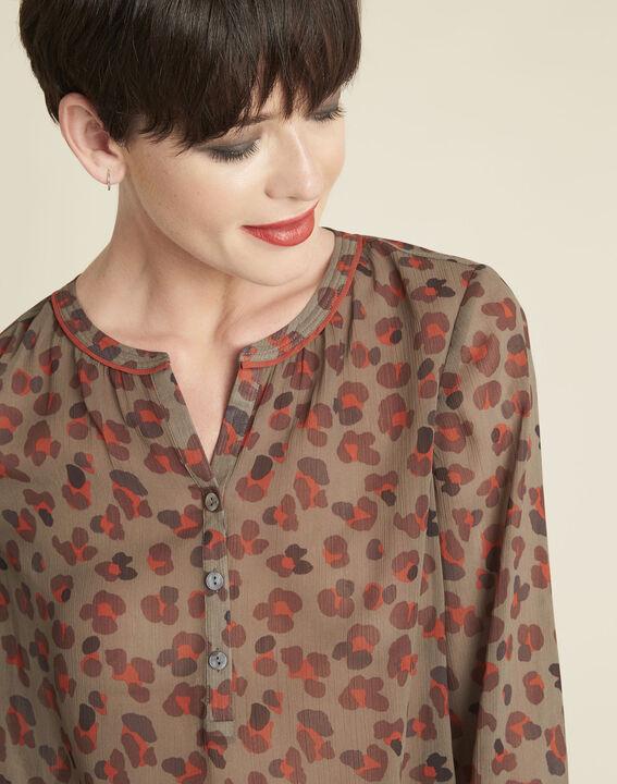Khakifarbene Bluse mit Animal-Print Candy (3) - 1-2-3