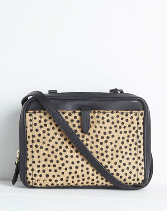 Dolly animal print shoulder bag with golden zip camel.