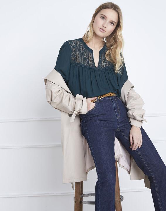 Donkergroene blouse met kant Veracine (2) - Maison 123