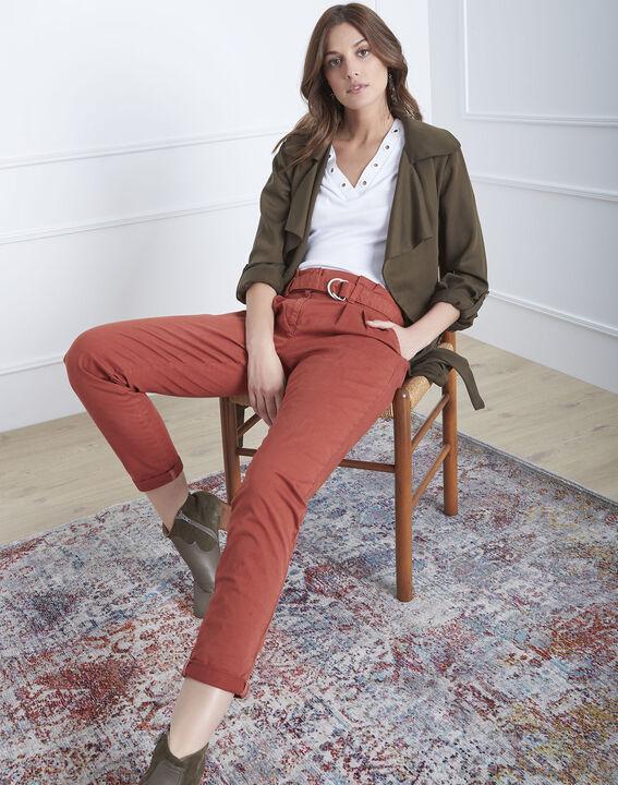 Pantalon acajou chino ceinturée Clovis PhotoZ | 1-2-3
