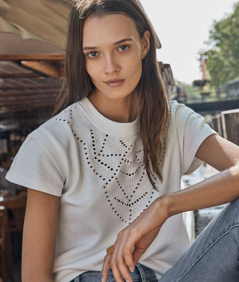 Tee-shirt en coton épais et broderies blanc Elsa PhotoZ | 1-2-3