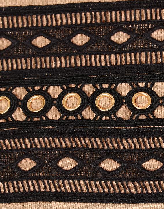 Camelfarbenes T-Shirt mit Spitzeneinsätzen und Ösen Baie (3) - 1-2-3