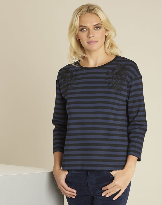 Glory navy striped t-shirt with embroidery PhotoZ | 1-2-3