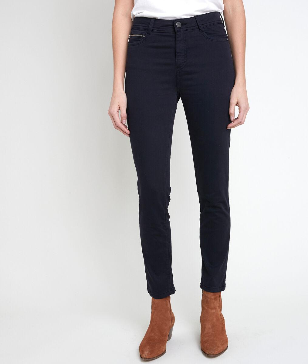 L'iconique slim jean satin de coton marine Sultan  PhotoZ | 1-2-3