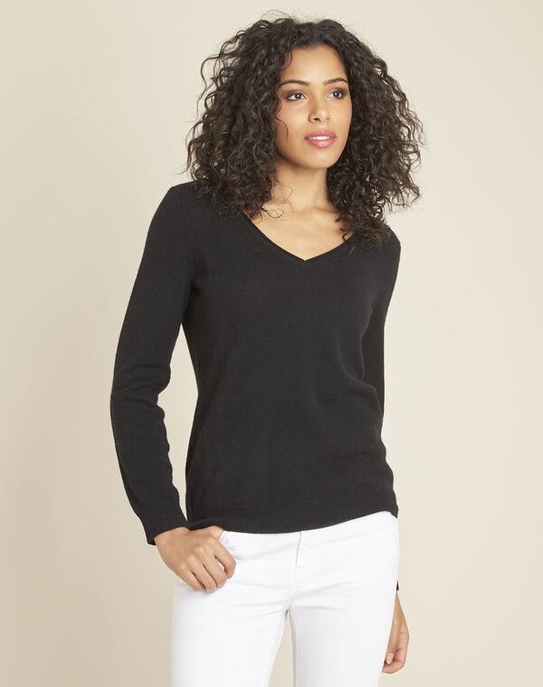 Zwarte trui van kasjmier met V-hals Pivoine (1) - 37653