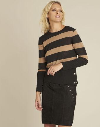 Pull noir rayé en laine mélangée bertin noir.