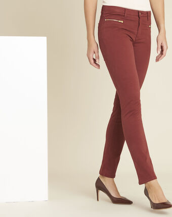 Germain mahogany straight-cut jeans with zipped pockets terracotta.