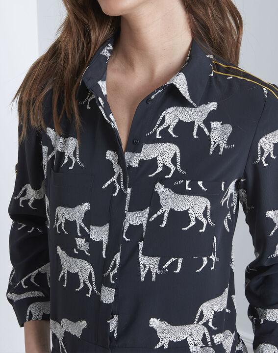 Schwarzer Jumpsuit mit Gepard-Motiven Latoya (3) - Maison 123