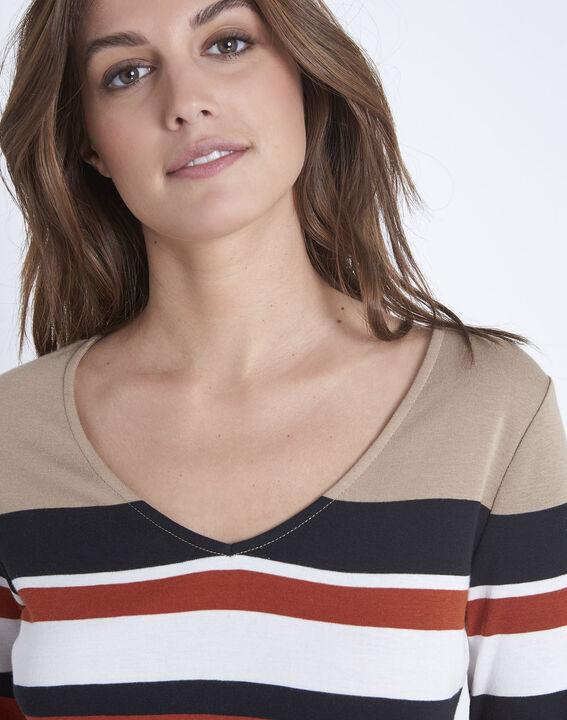 Tee-shirt marron rayé encolure V Gayure (3) - Maison 123