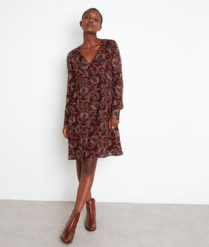 Robe courte imprimée bordeaux Syrine