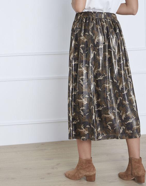 Jupe kaki plissée imprimé camouflage Sable (3) - Maison 123