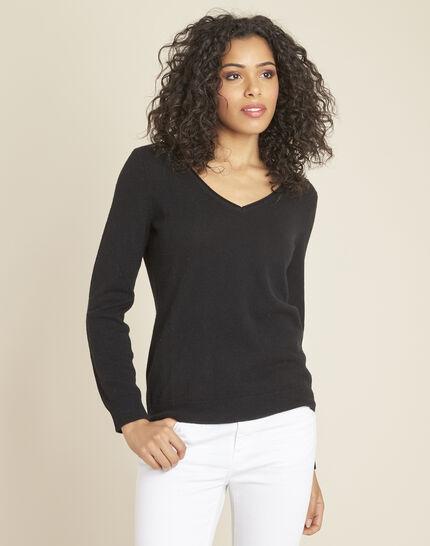 Pivoine black V-neck sweater in cashmere (2) - 1-2-3