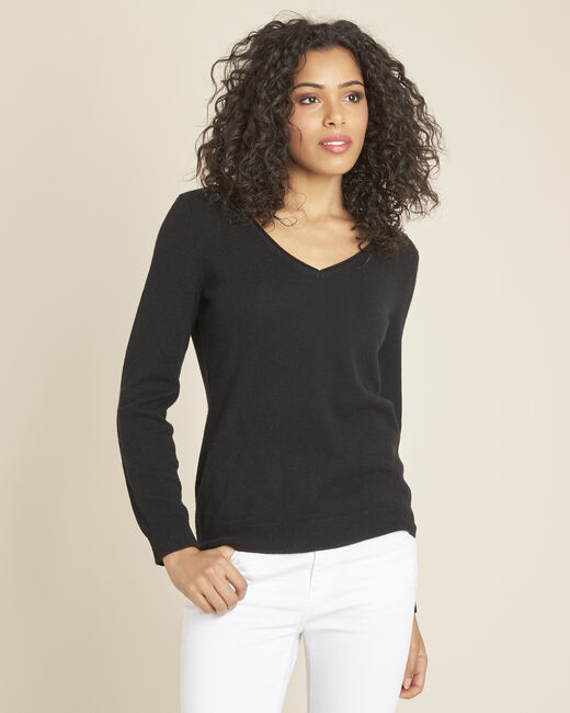 Pivoine black V-neck sweater in cashmere (2) - 1-2-3