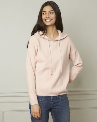 Anemone powder-coloured pullover with hood and lurex details powder.