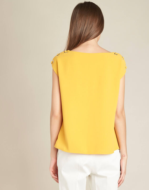 Germina yellow blouse with eyelets and laces (4) - 1-2-3
