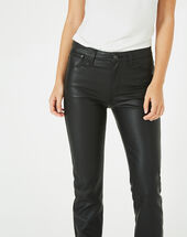 William slim-cut faux-leather black trousers black.
