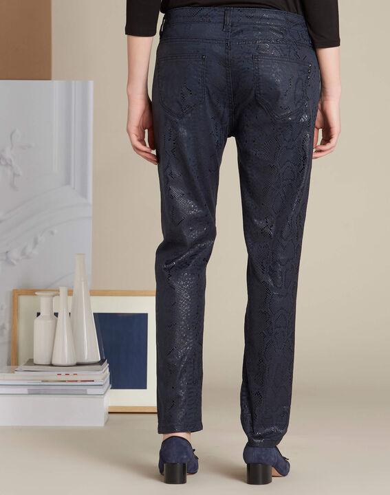 Marineblaue beschichtete Jeans mit Snake-Print Vendome (4) - 1-2-3