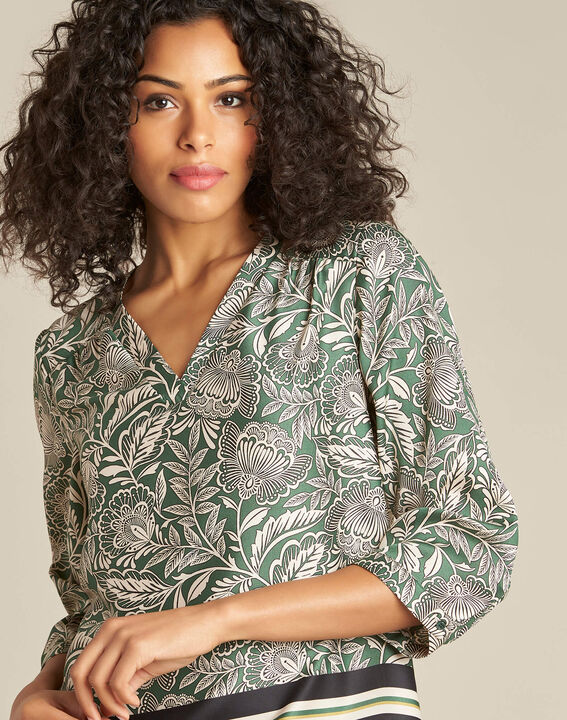 Gail green blouse with plant print PhotoZ | 1-2-3