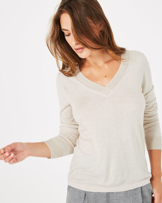 Pépite nude V-neck sweater (2) - 1-2-3