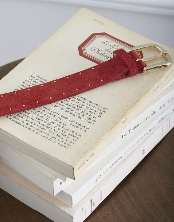 Ceinture rouge en cuir effet velours détails cloutés Kassis (2) - Maison 123