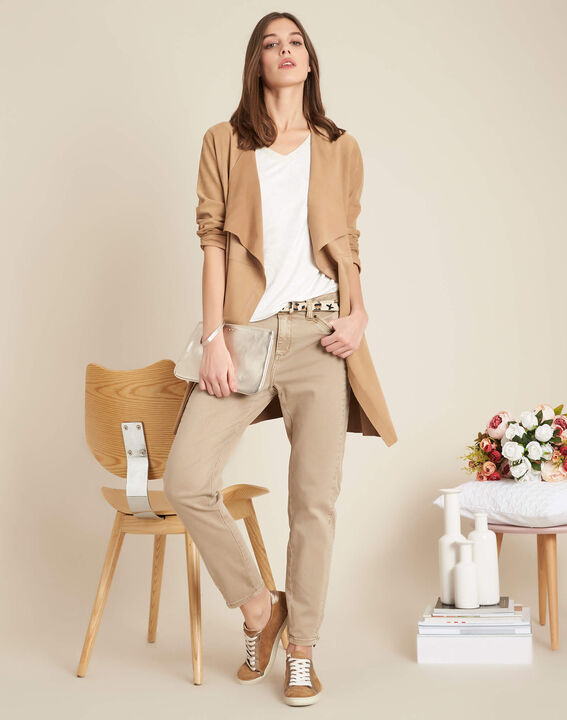 Opera slim-cut camel jeans with zips at the waist (2) - 1-2-3