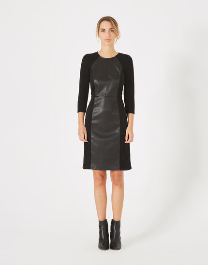 Angie straight-cut dual-fabric black dress (2) - 1-2-3