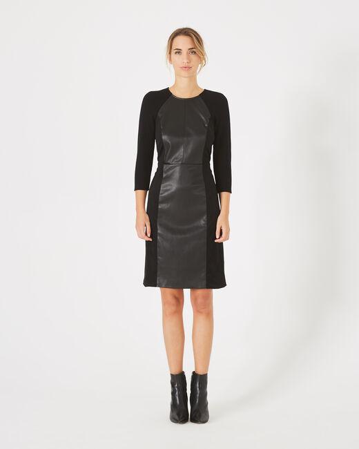 Robe noire bimatière coupe droite Angie (1) - 1-2-3