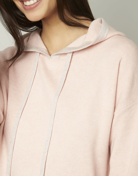 Anemone powder-coloured pullover with hood and lurex details (4) - Maison 123