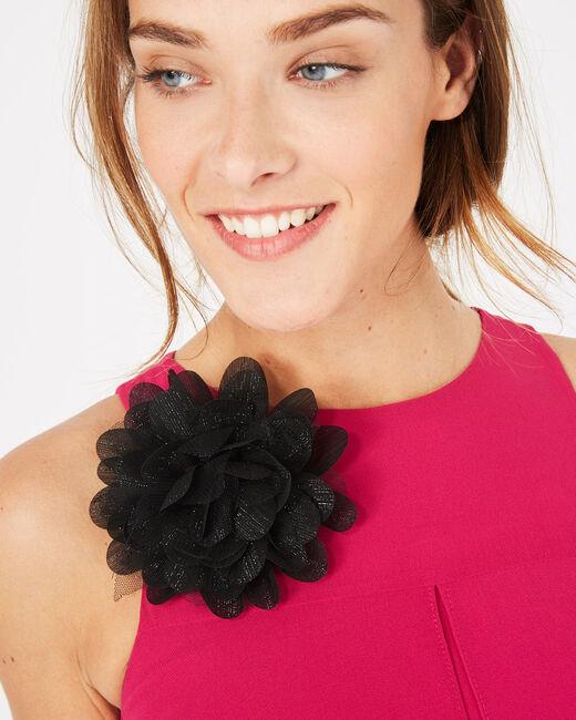 Fuchsienrotes Kleid mit Blume an der Schulter Garance (1) - 1-2-3