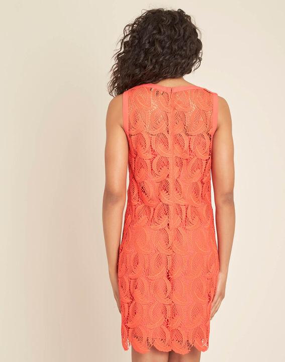 Robe corail en dentelle courte Iska (4) - 1-2-3