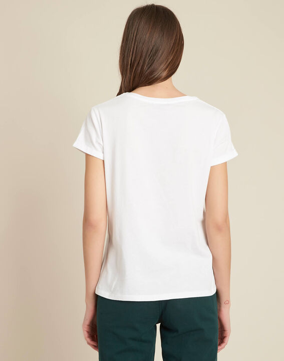 Tee-shirt blanc brodé Edelweiss (4) - 1-2-3