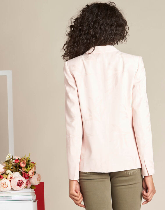 Demoiselle pale pink fitted jacket with leaf print (4) - 1-2-3