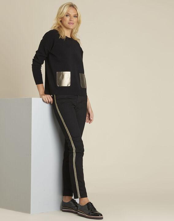 7/8 straight-fit zwarte jeans met strook op de zijkant Maddie (3) - 37653