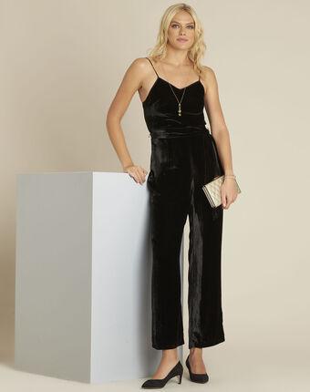 Nalia black velvet silk mix jumpsuit black.