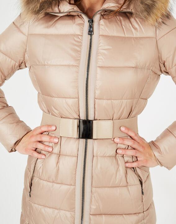 Louna long beige puffer jacket with faux fur (5) - 1-2-3