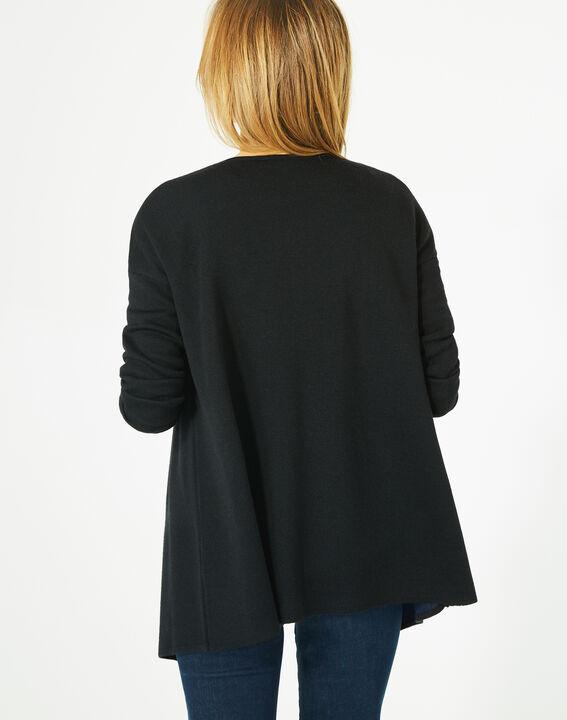Gilet noir long façon veste en laine mélangée Papyrus (5) - 1-2-3