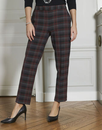 Pantalon cigarette carreaux rouge suzanne bordeaux.