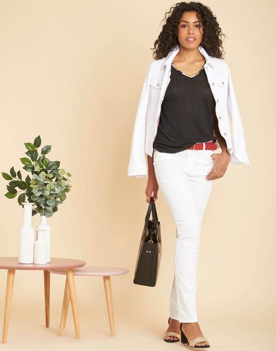 Elin black linen T-Shirt with collar (2) - 1-2-3