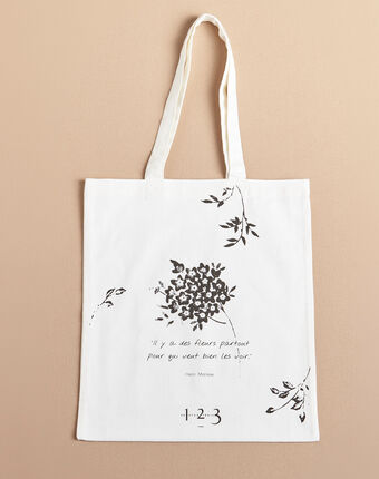 Ecru tote bag with flower print ecru.