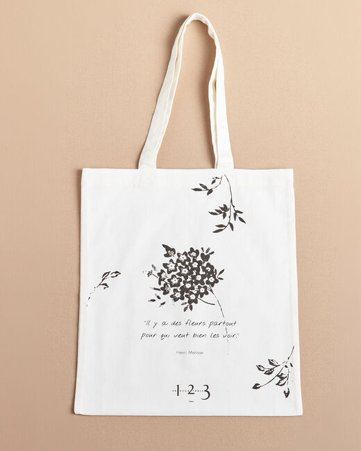 Ecru tote bag with flower print (1) - 1-2-3