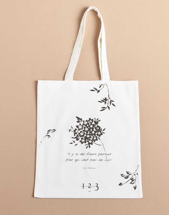 Ecru tote bag with flower print (2) - 1-2-3