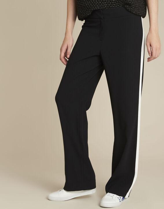 Zwarte broek met witte band Hirvine PhotoZ | 1-2-3