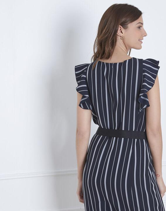 Marineblaues Kleid Streifen Rüschen Laure (4) - Maison 123