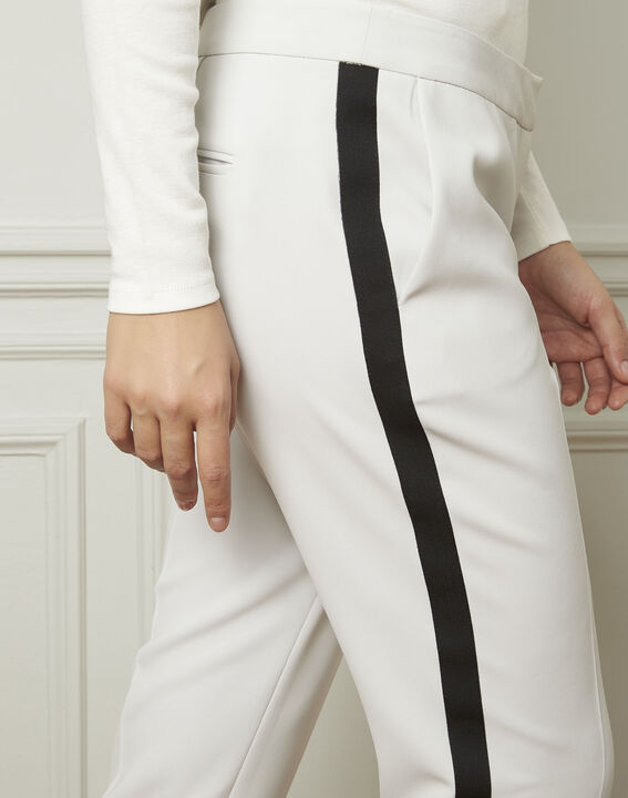 Suzanne pale grey trousers with a black microfibre band (4) - Maison 123