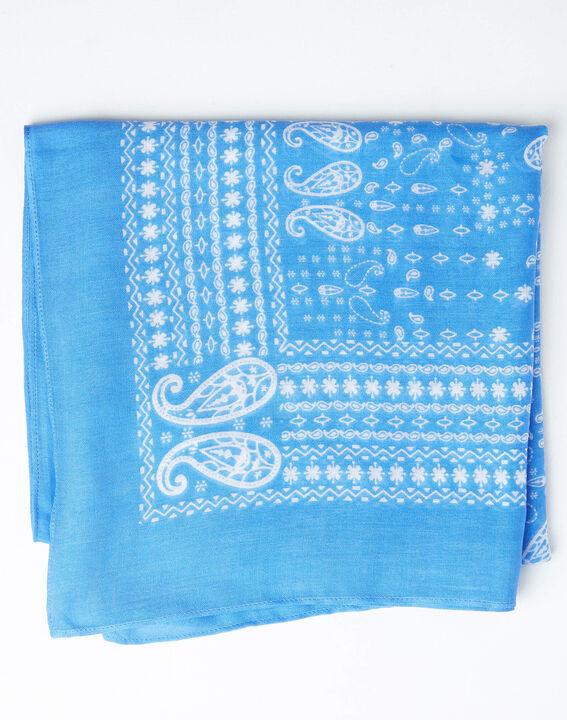 Amor bandana print sky blue scarf (2) - 1-2-3