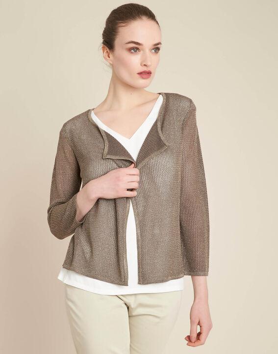 Noisette fine-knit khaki cardigan (3) - 1-2-3