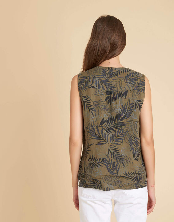 Gladys khaki linen top with palm print (4) - 1-2-3