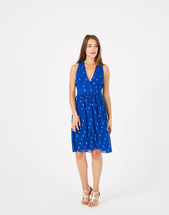 Groove royal blue dress with silver leaf design PhotoZ   1-2-3